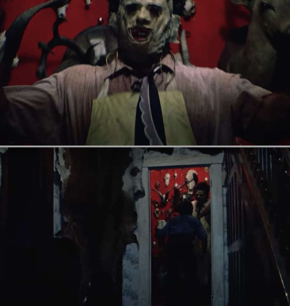Leatherface attacking someone in his home