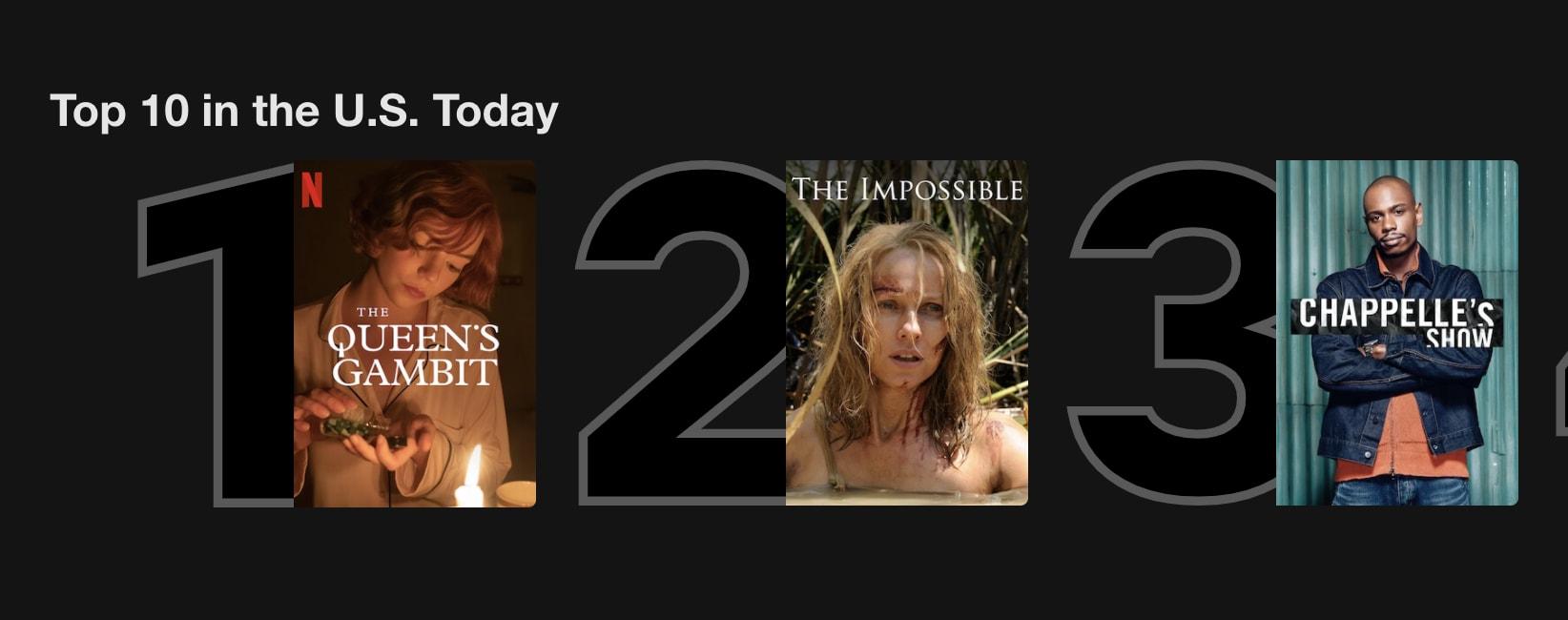 Lista top 3 na Netflix dos Estados Unidos