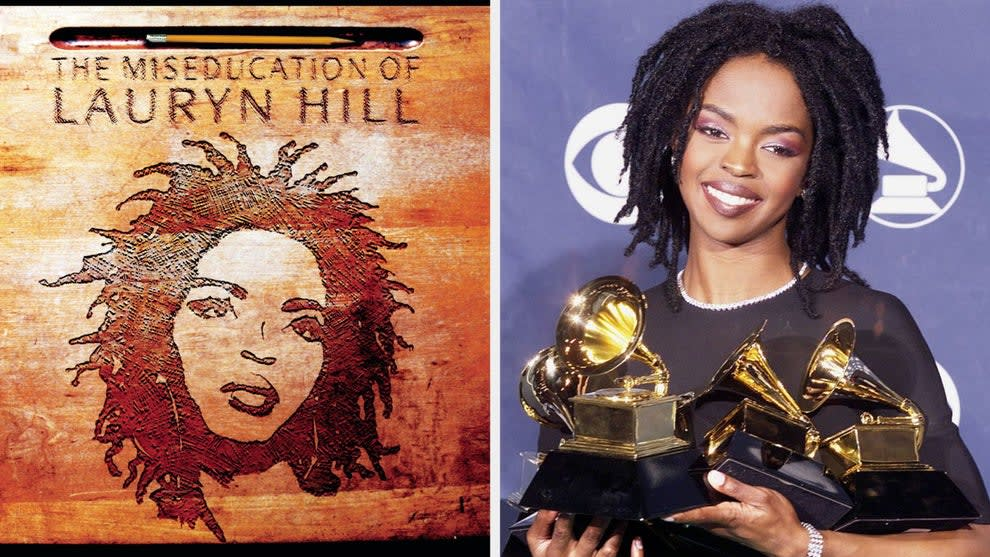 """The cover of """"The Miseducation of Lauryn Hill""""; Lauryn Hill winning at the 1999 Grammys"""