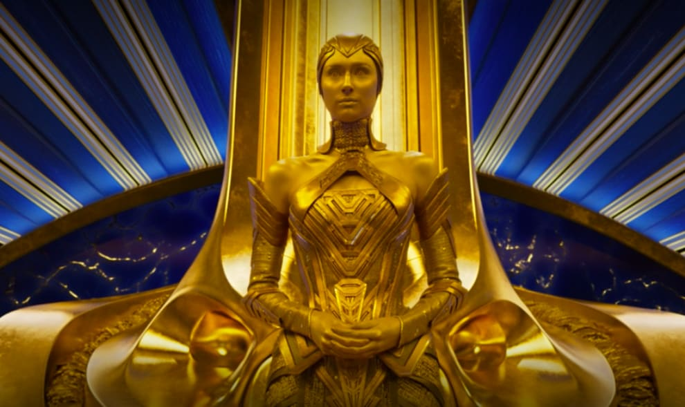 Ayesha watches the Guardians exit her throne room