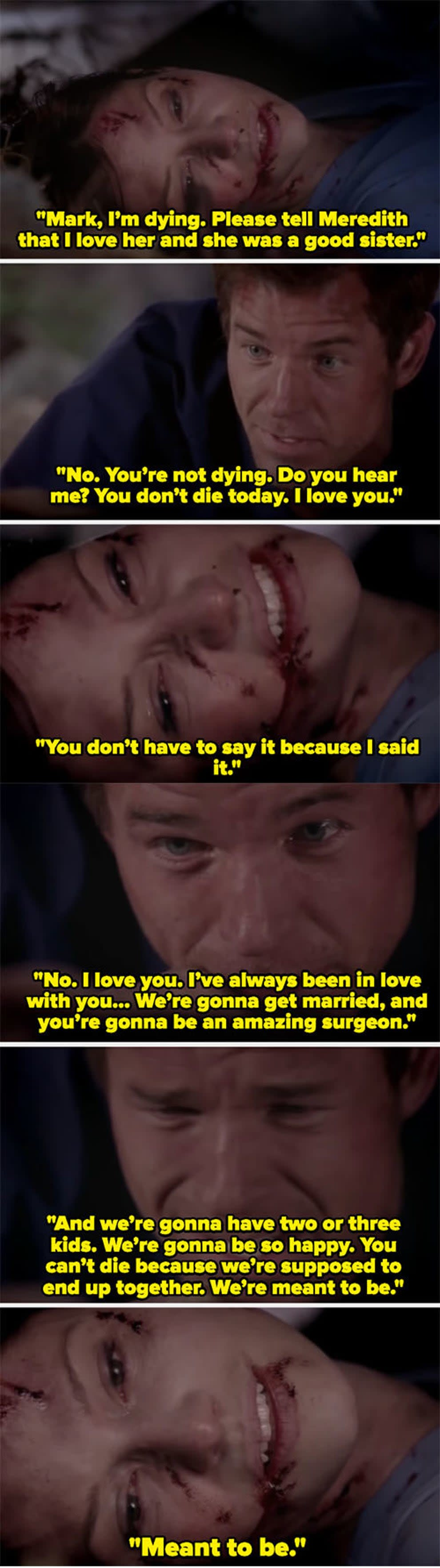 """Lexie saying her final goodbye to Mark before she dies on """"Grey's Anatomy"""""""
