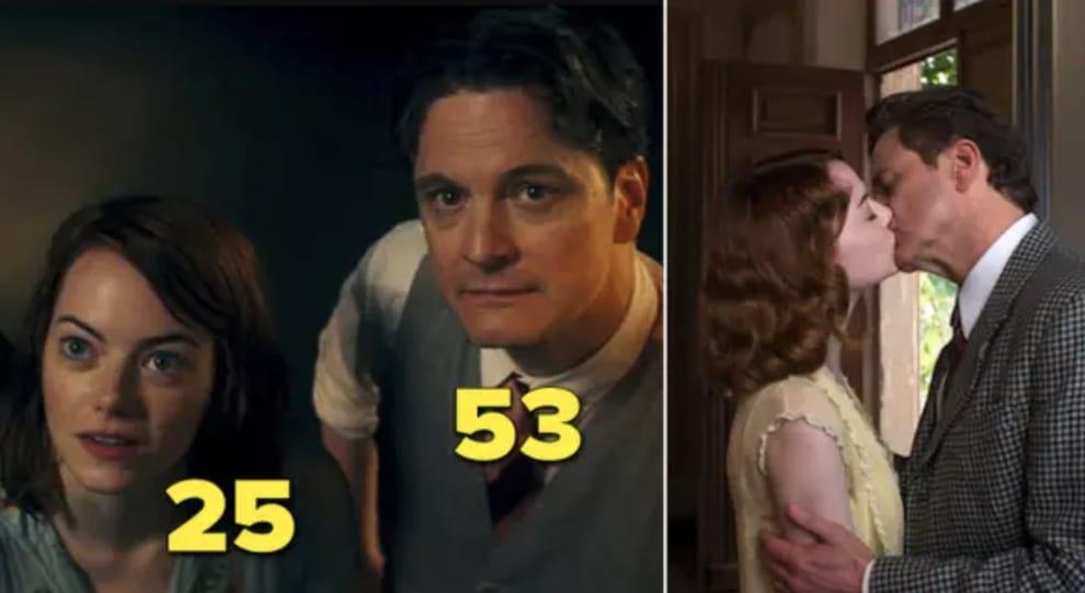 """Emma Stone e Colin Firth beijando em """"Magia ao Luar"""""""