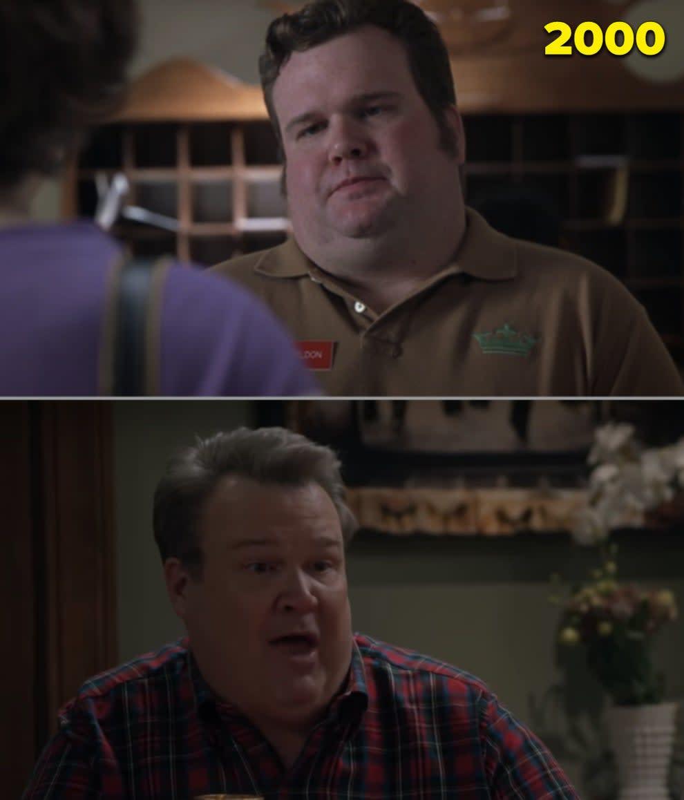 "Eric Stonestreet como recepcionista e no último episódio de ""Modern Family"""
