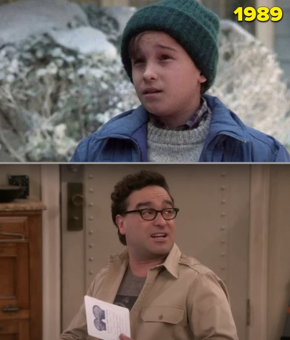 """Johnny as a kid in """"Christmas Vacation"""" vs. in the last season of """"The Big Bang Theory"""""""