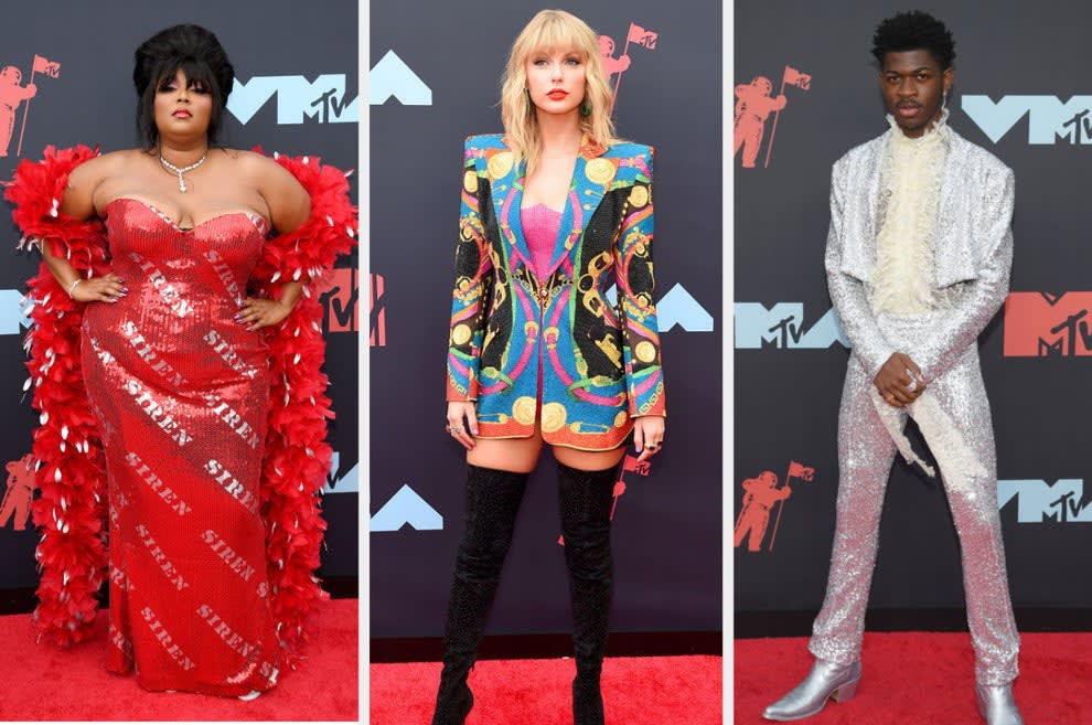 """Lizzo wears a boa and sequin dress with """"siren"""" printed all over, Taylor wears a sequin '80s-inspired blazer and thigh-high boots, Lil Nas X wears a cowboy-inspired sequin suit"""