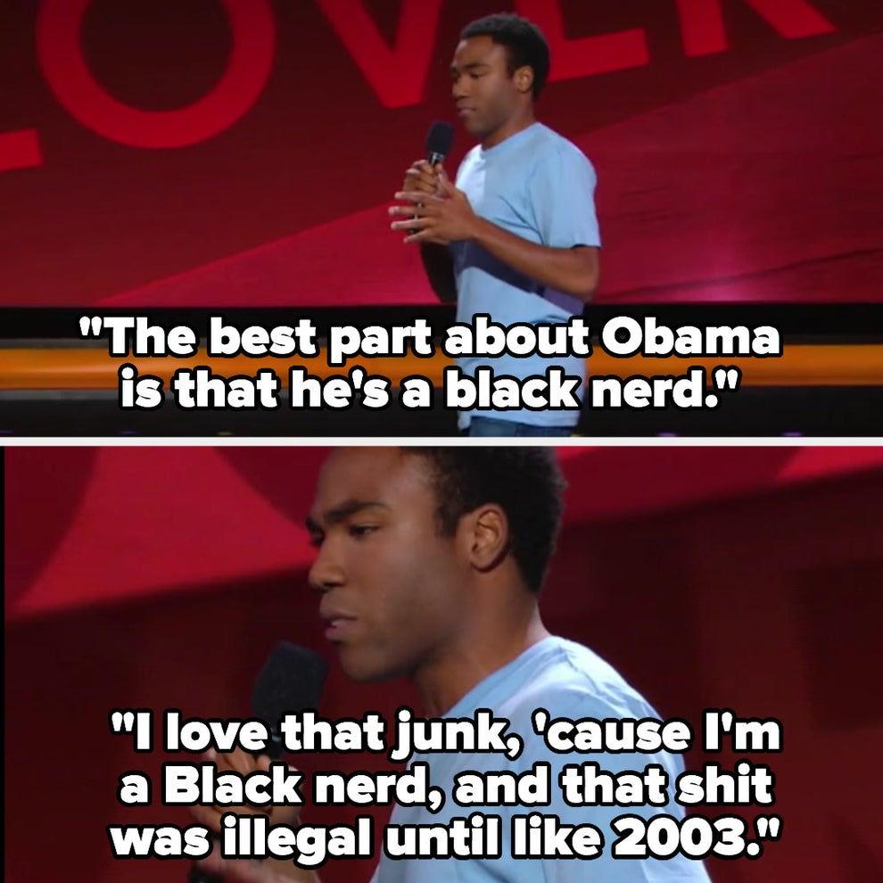 """Donald dizendo """"O melhor do Obama é que ele é um nerd preto. Eu amo isso, porque também sou, e isso era ilegal até, tipo, 2003."""""""