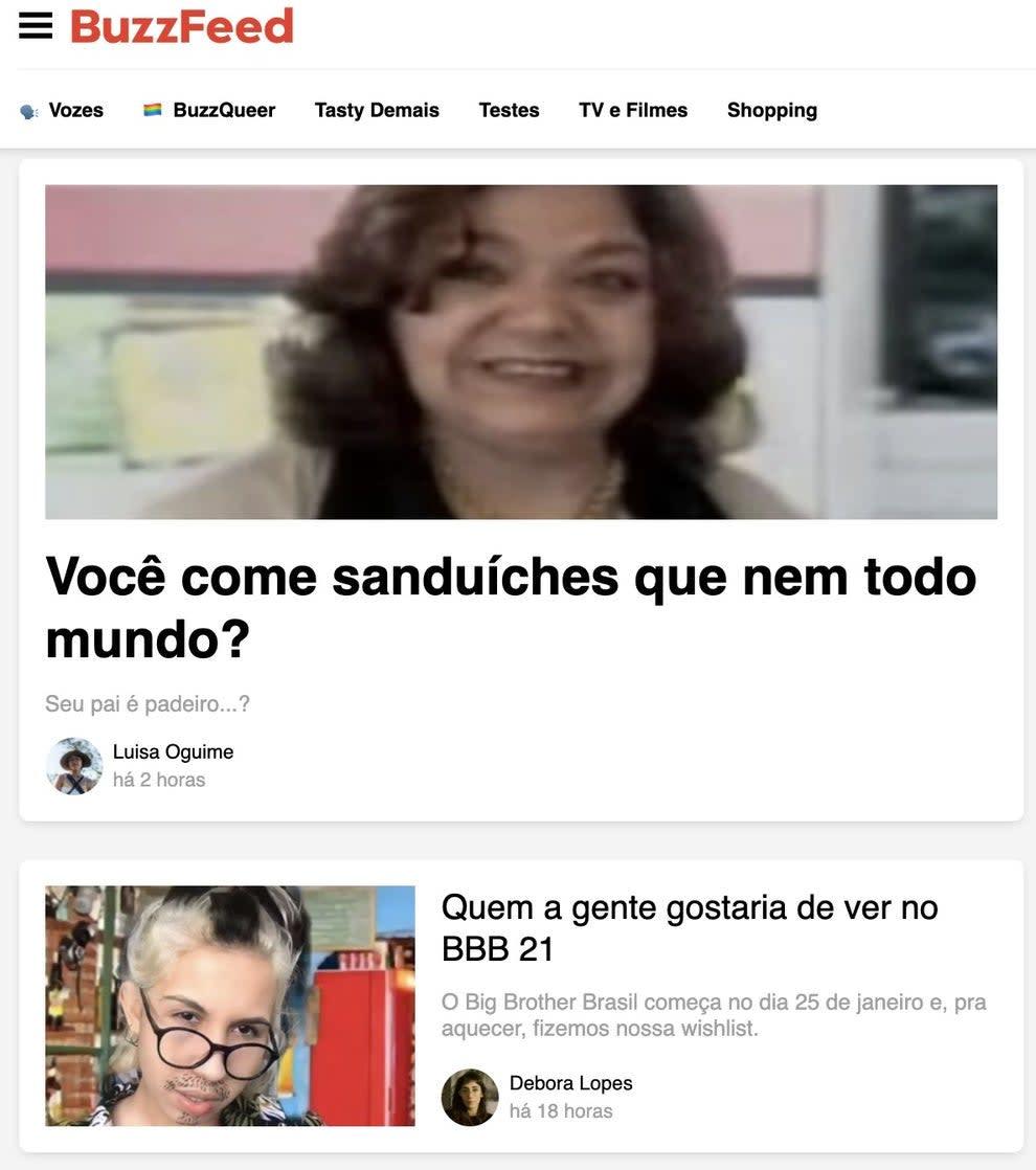 Imagem da home do BuzzFeed Brasil.