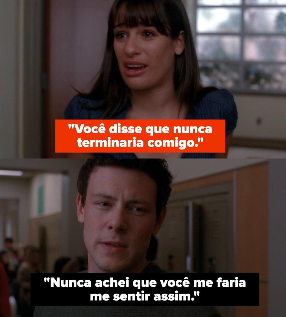 Rachel tearfully confronts Finn.