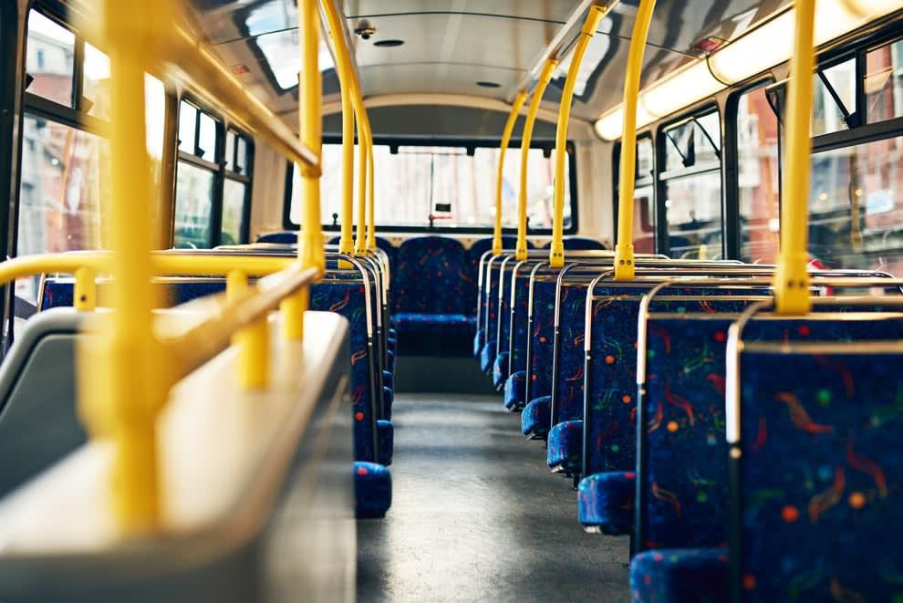 an empty public transport bus
