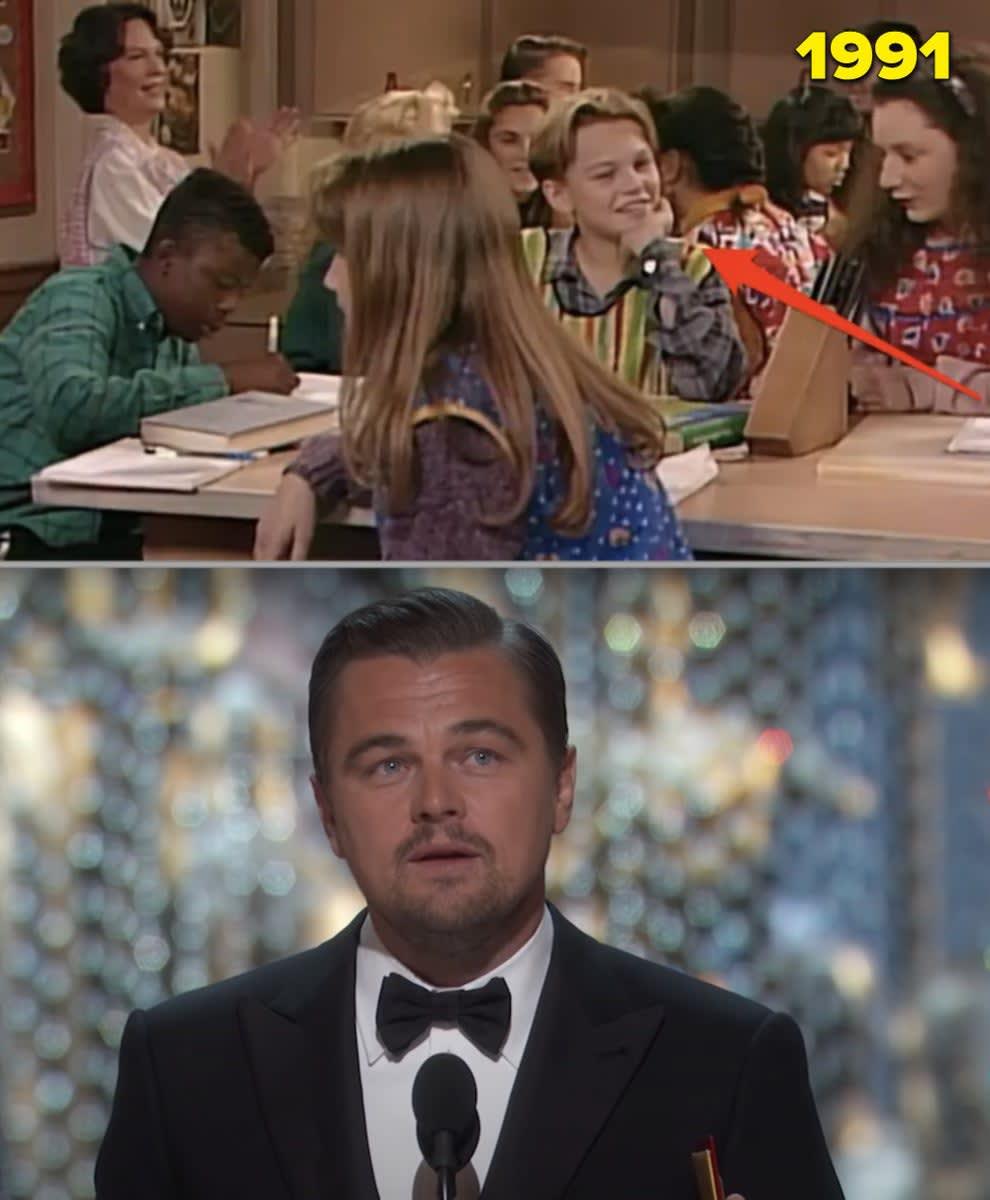 """Leo atuando quando criança em """"Roseanne"""" e aceitando Oscar"""