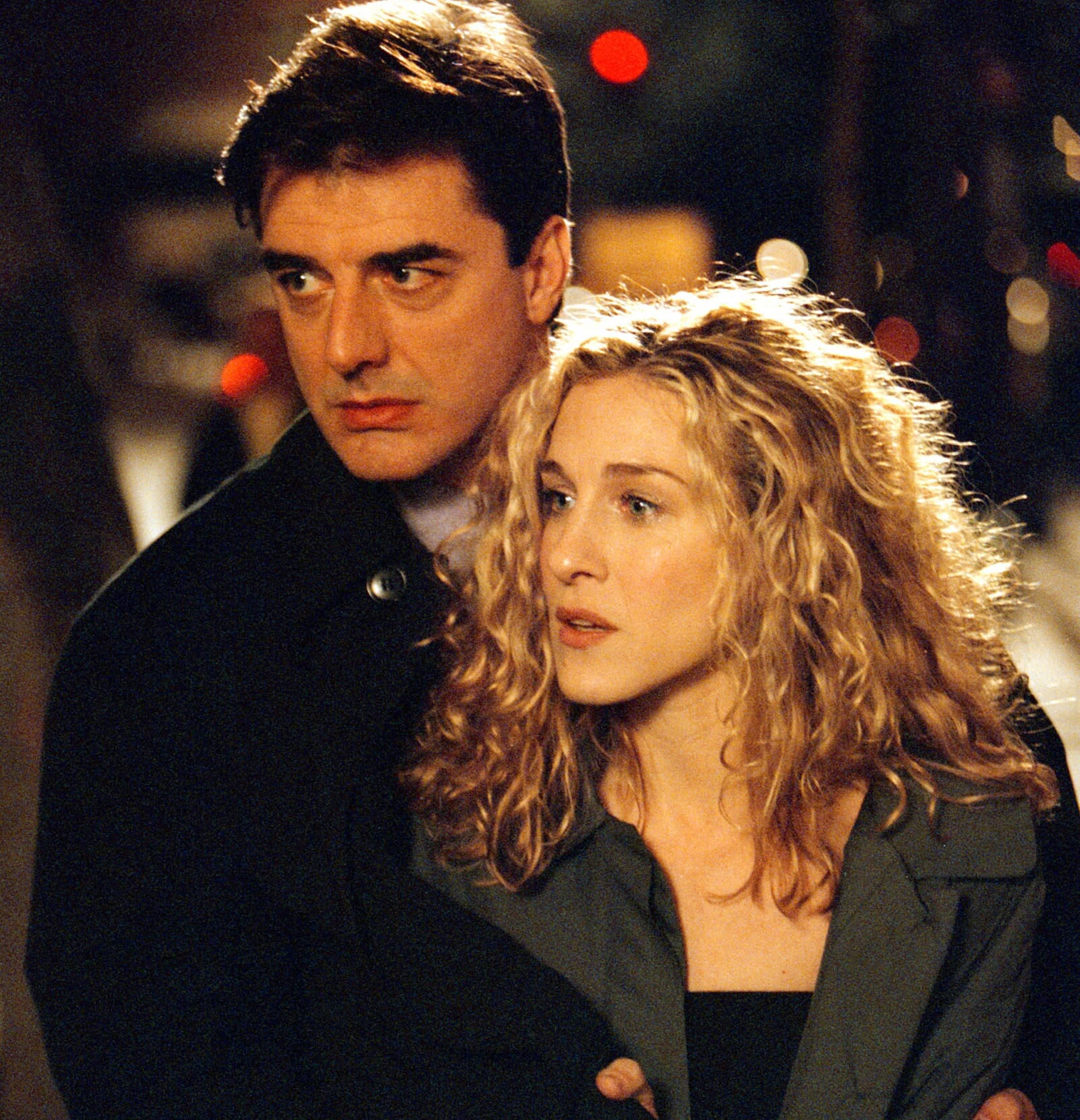 "Actors Sarah Jessica Parker and Chris Noth on the set of ""Sex and the City"""