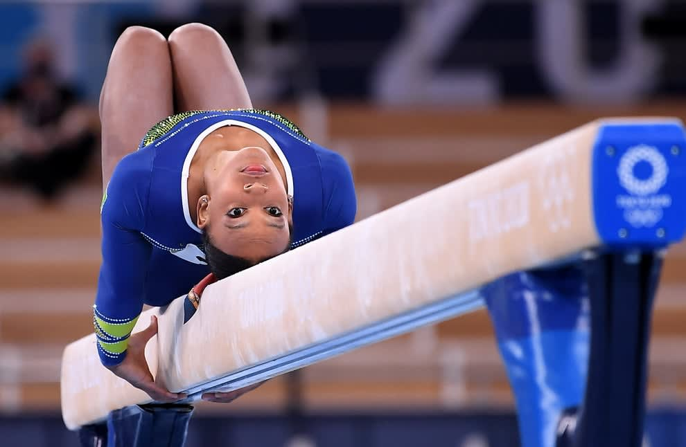 A Brazilian gymnast on the balance beam