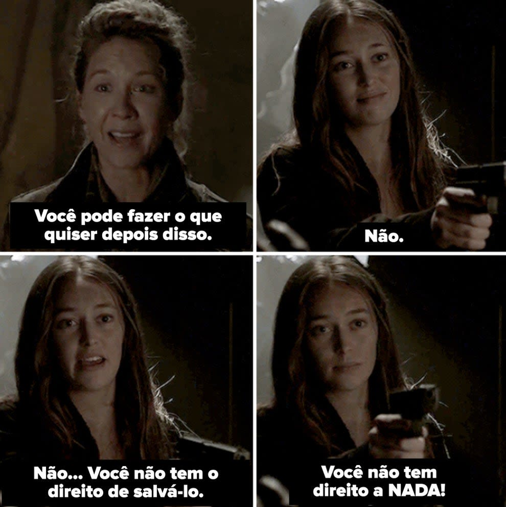 Alicia dizendo a Laura que ela não merece salvar o John.