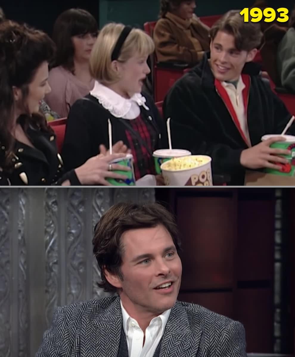 """James Marsden num encontro no cinema em """"The Nanny"""" e numa entrevista"""