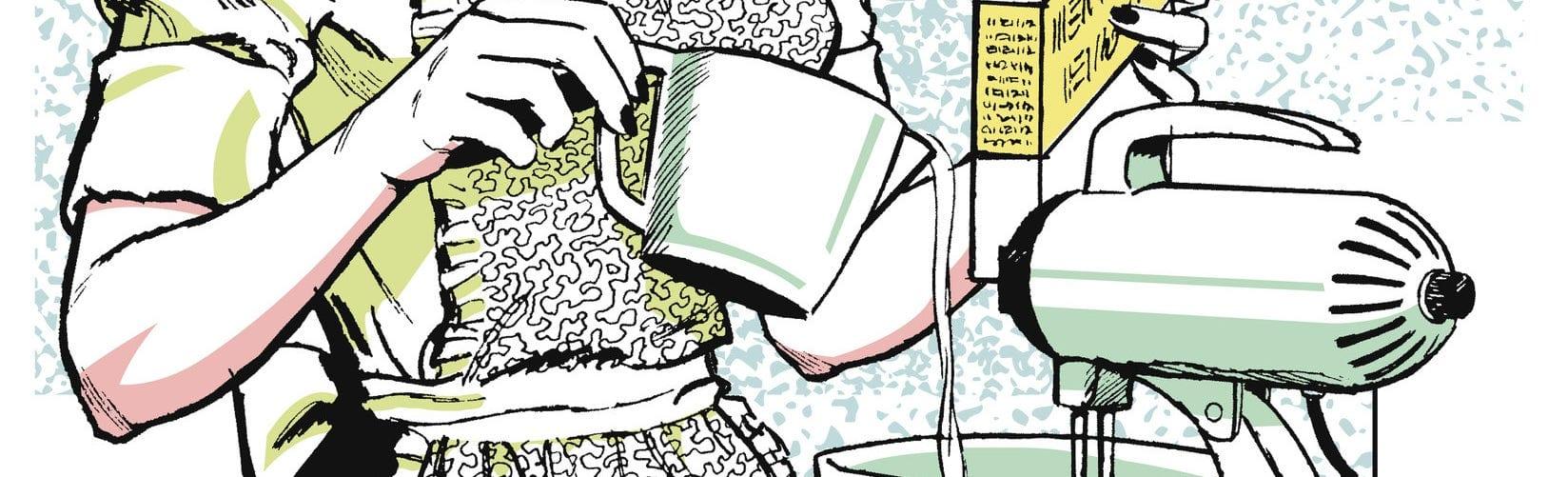 Pedaço de ilustração, com uma pessoa de avental segurando uma caixa de farinha e uma jarra despejando líquido dentro de uma batedeira.