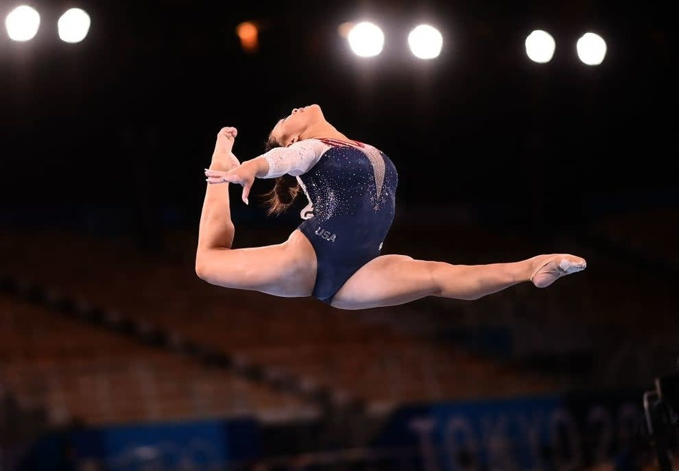 USA's Sunisa Lee competes in the balance beam event of the artistic gymnastics women's all-around final