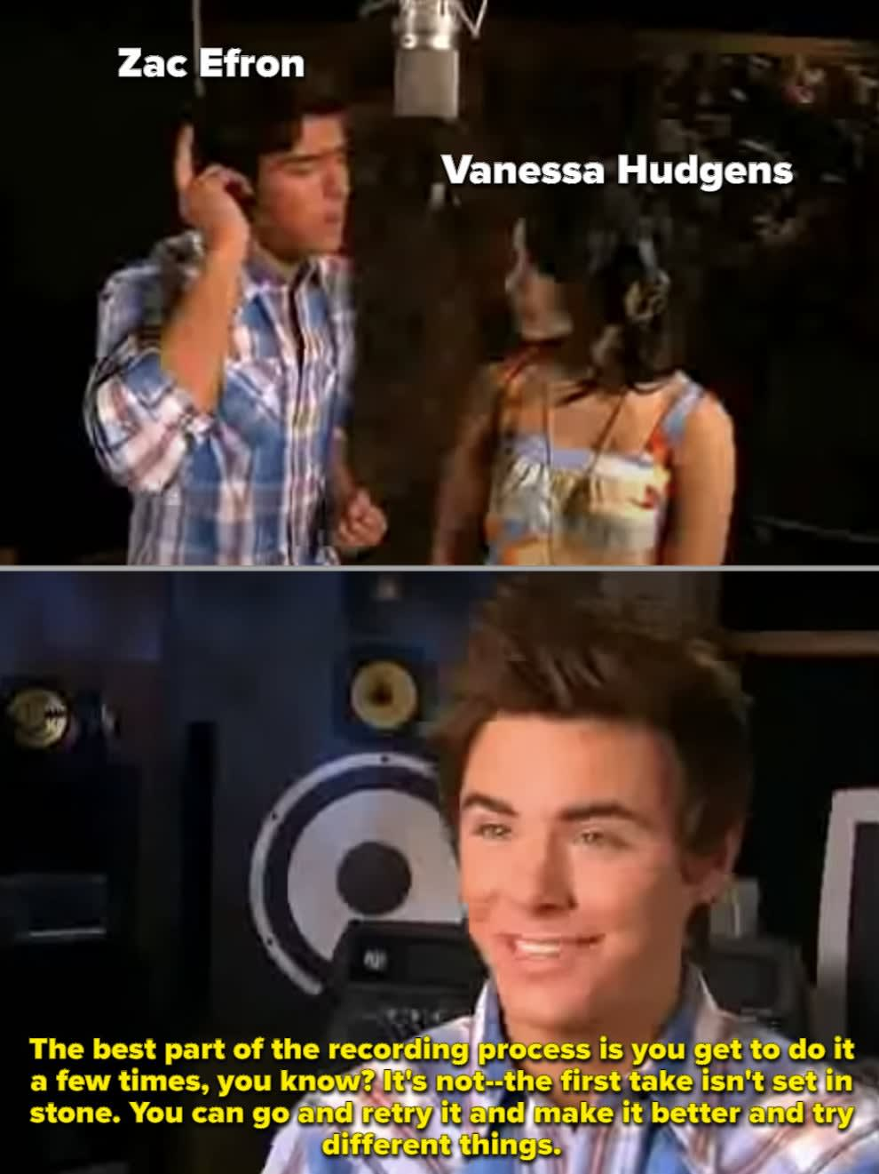"""Zac and Vanessa singing for the second """"HSM"""""""