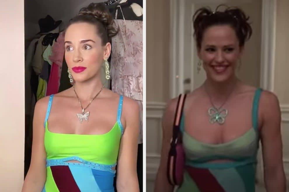 Christa recriando a cena de Jenna chegando de vestido brilhante na festa