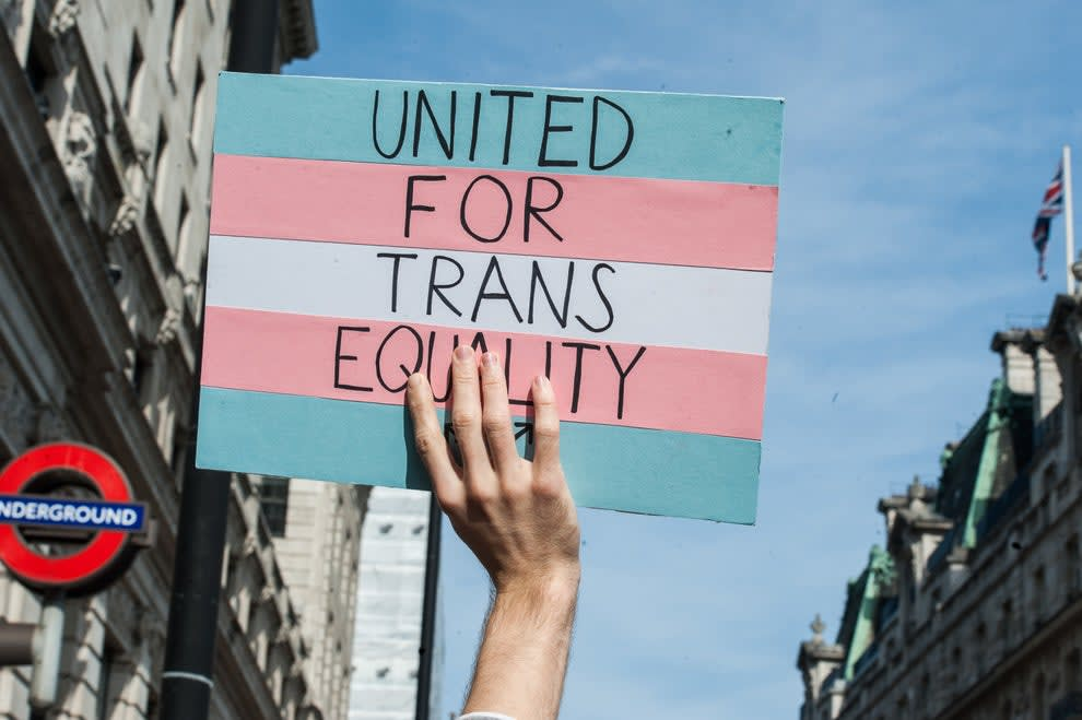"""An image of a hand holding up a sign that says, """"United for trans equality"""""""