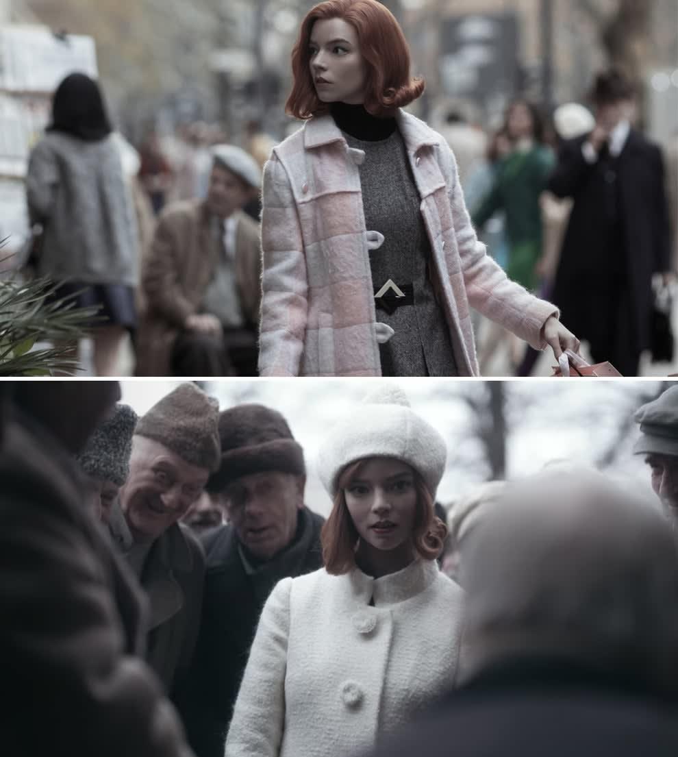 Beth usando um casaco xadrez em uma imagem e um casaco branco na outra