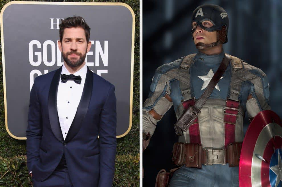 John Krasinski and Chris Evans in costume as Captain America