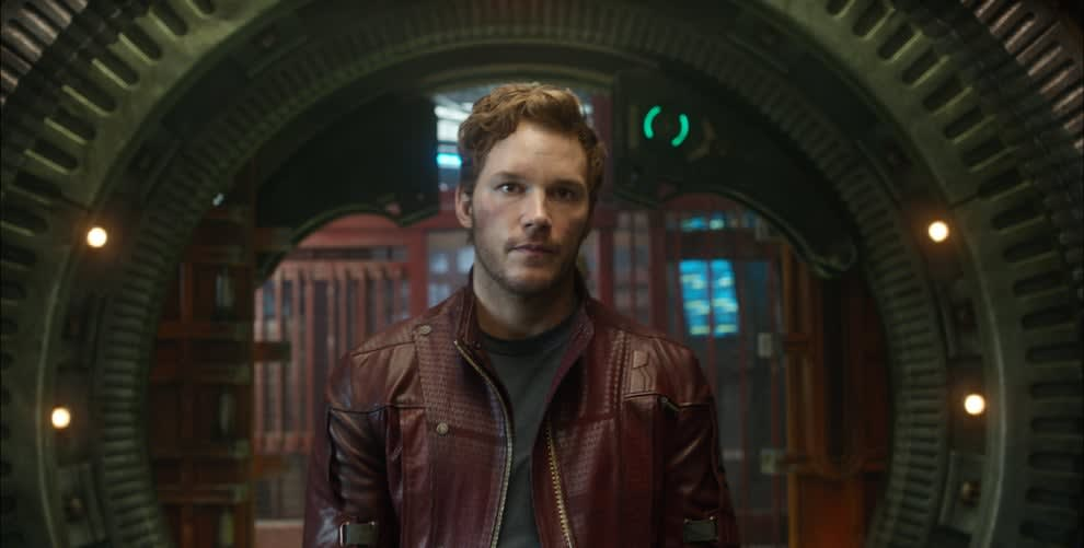 Chris Pratt in a red leather jacket as Star Lord