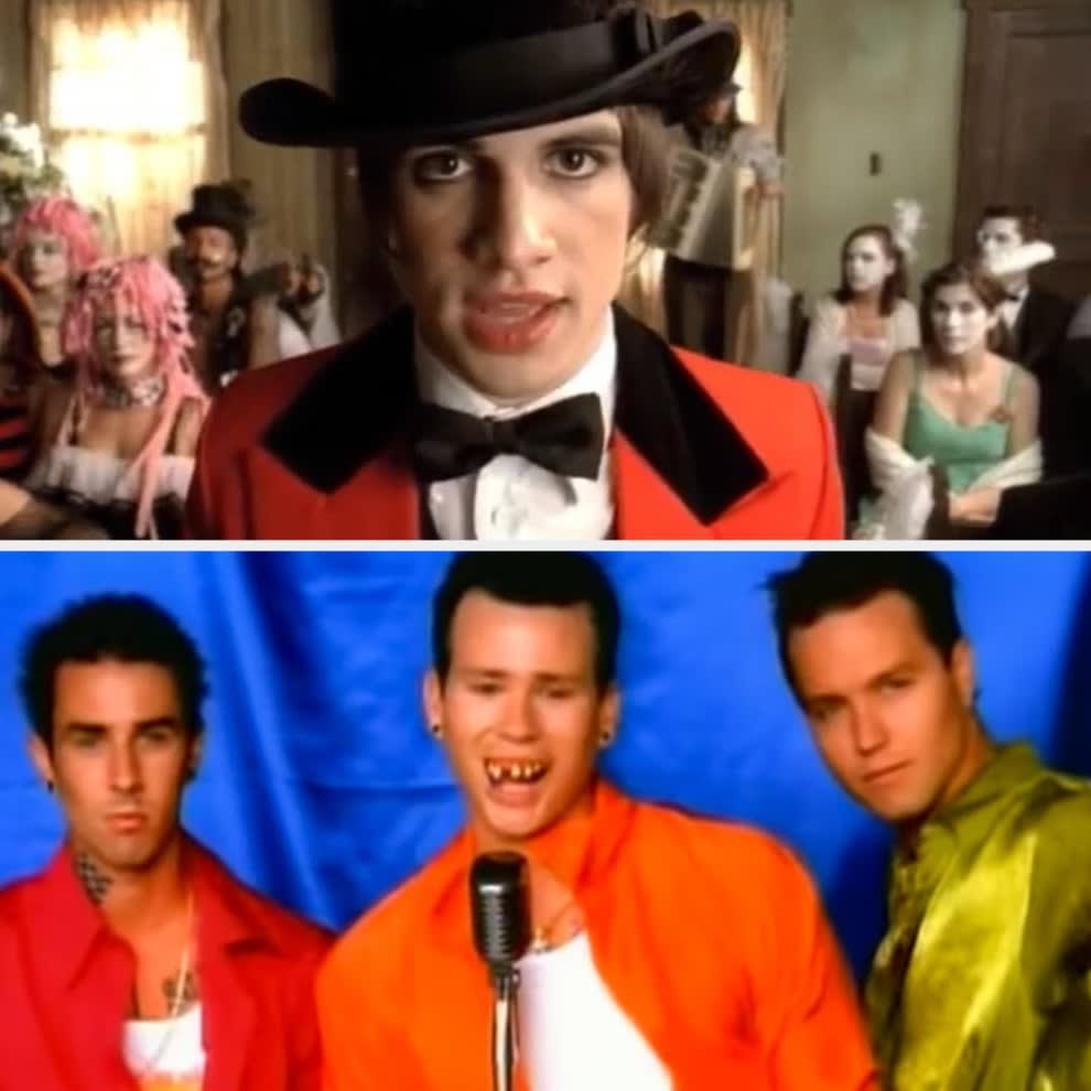"""Panic! at the Disco's """"I Write Sins Not Tragedies"""" music video; Blink-182's """"All the Small Things"""" music video"""