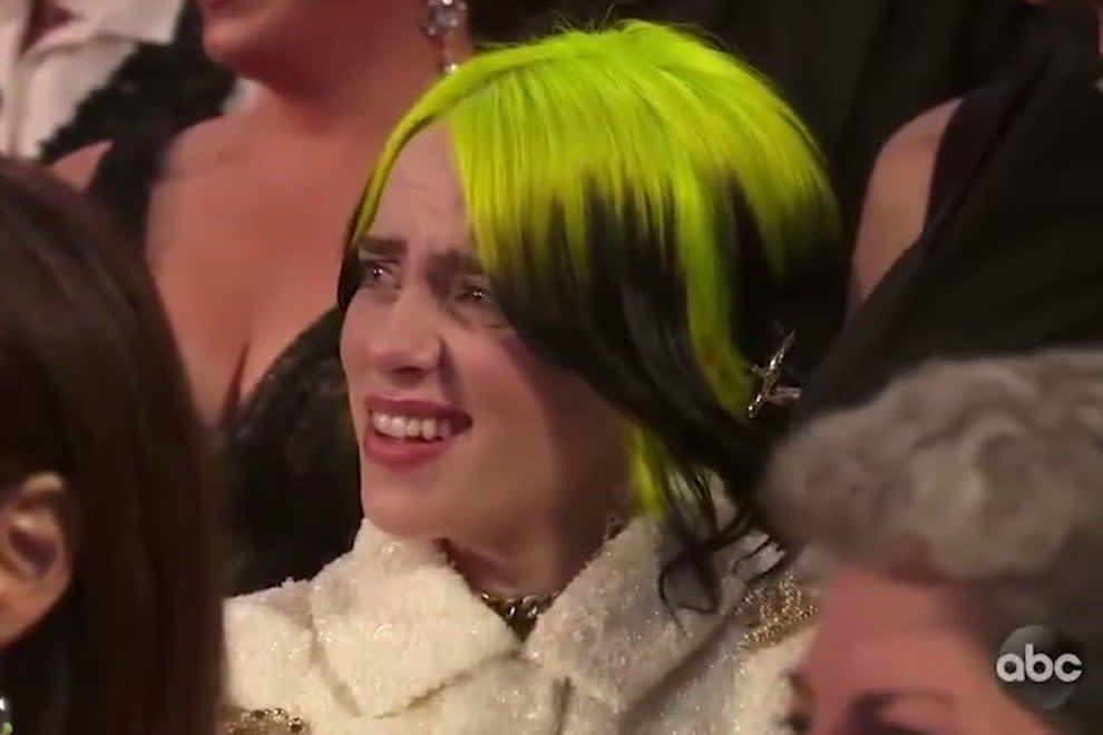 Meme da Billie Eilish no Oscar 2020.