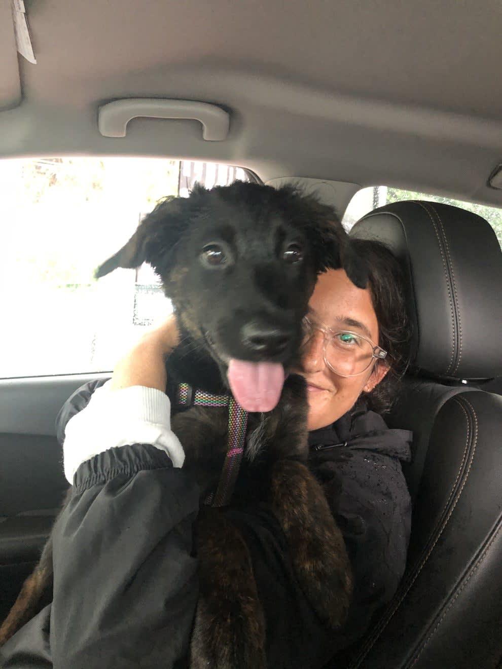 Foto da Lauren com a cachorra.