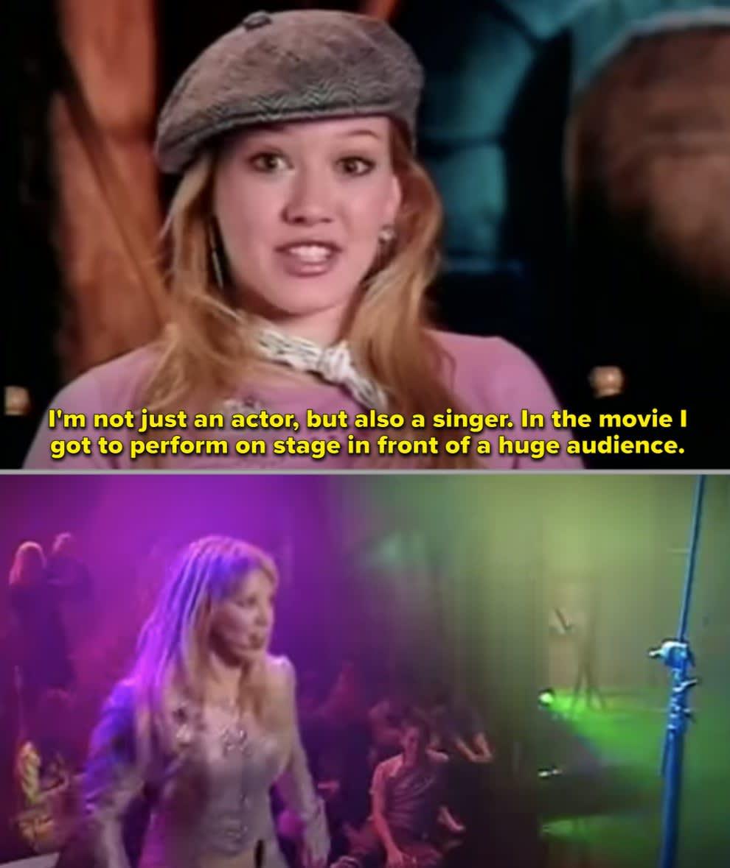 Hilary em entrevista sobre o filme