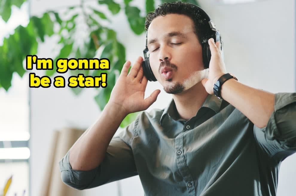"""""""I'm gonna be a star"""" over a man whistling to himself at work"""