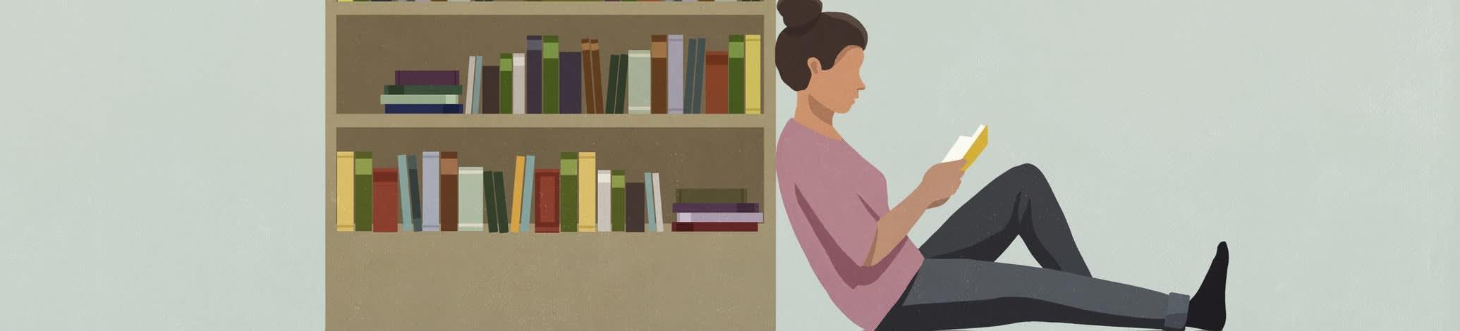 Ilustração de uma estante de livros, com uma pessoa de coque encostada ao lado da estante, lendo um livro.