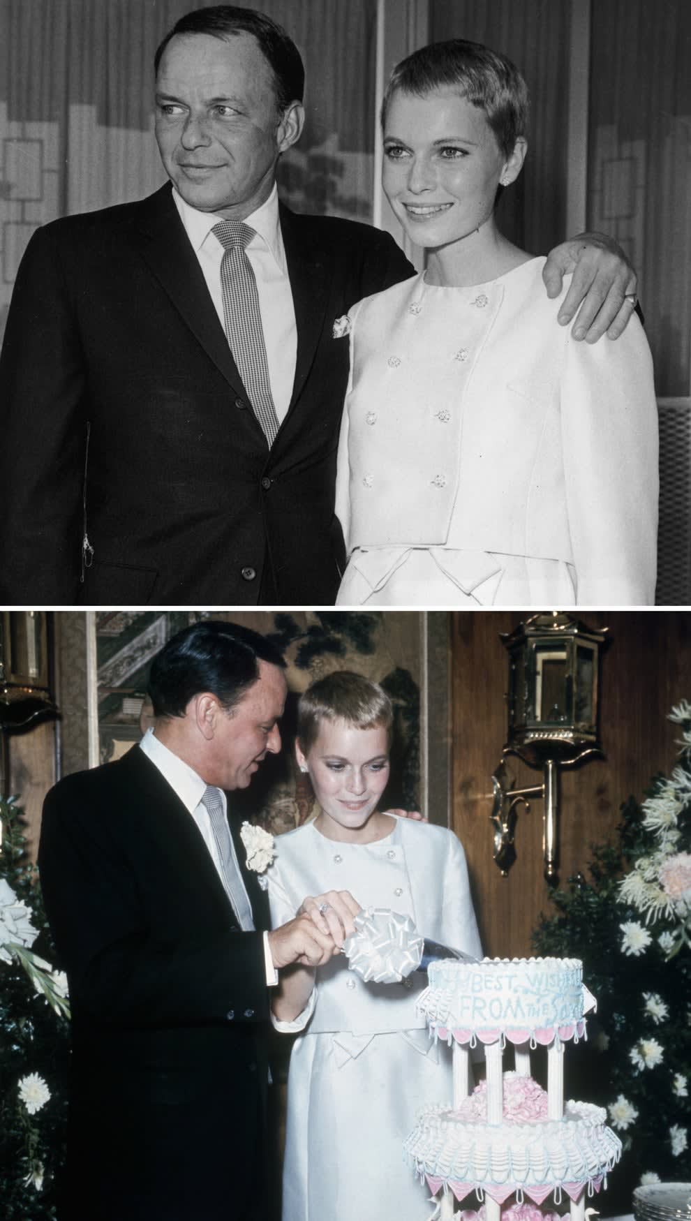 Farrow and Sinatra on their wedding day in 1966, cutting cake