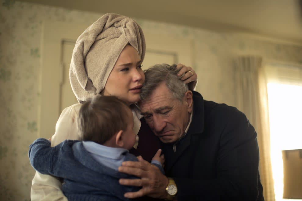 Jennifer Lawrence cries while hugging Robert De Niro and her baby