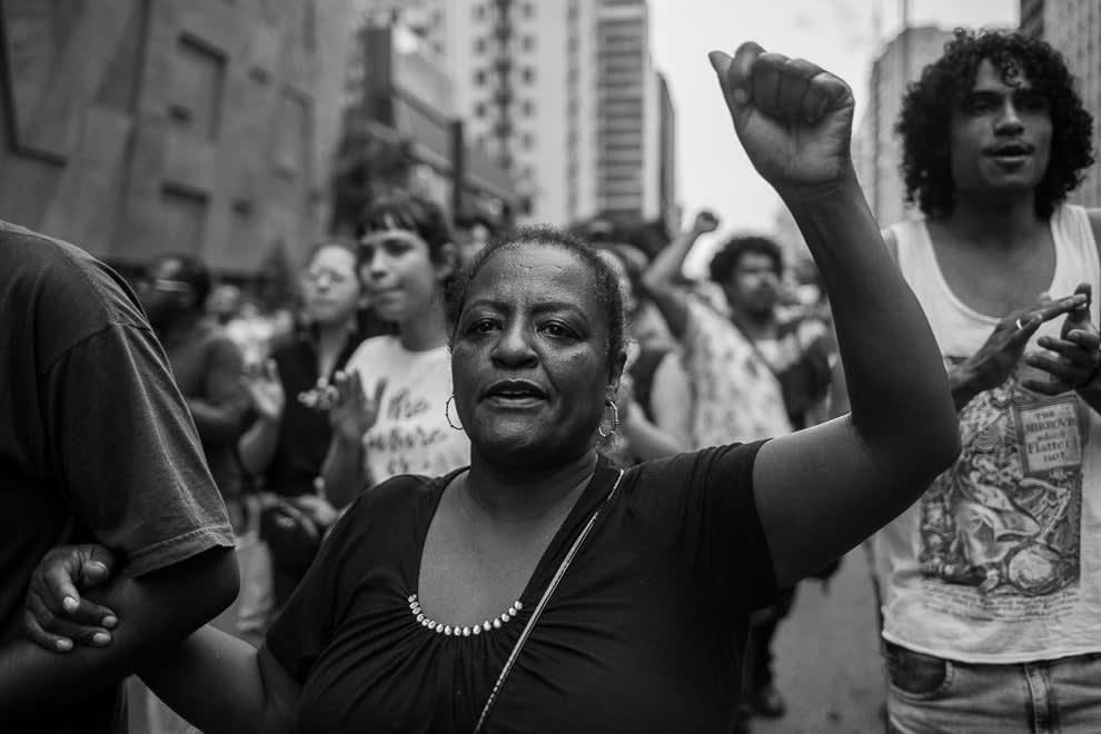 Protesto sobre a morte de Pedro Gonzaga, morto em 14 de fevereiro de 2019 asfixiado por um segurança do mercado Extra.