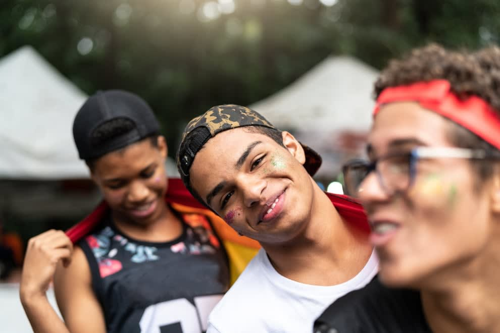 Gay friends celebrating