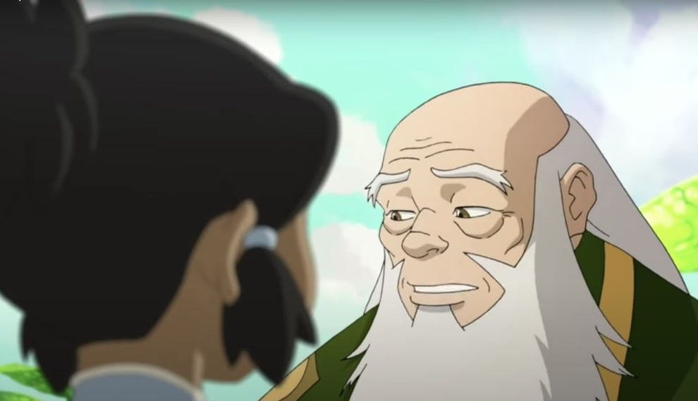 The spirit of iroh speaking to a young korra in the spirit realm