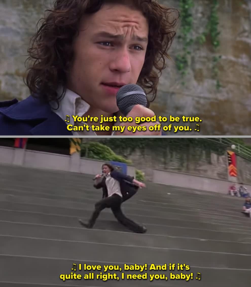 Heath singing while running on the school bleachers