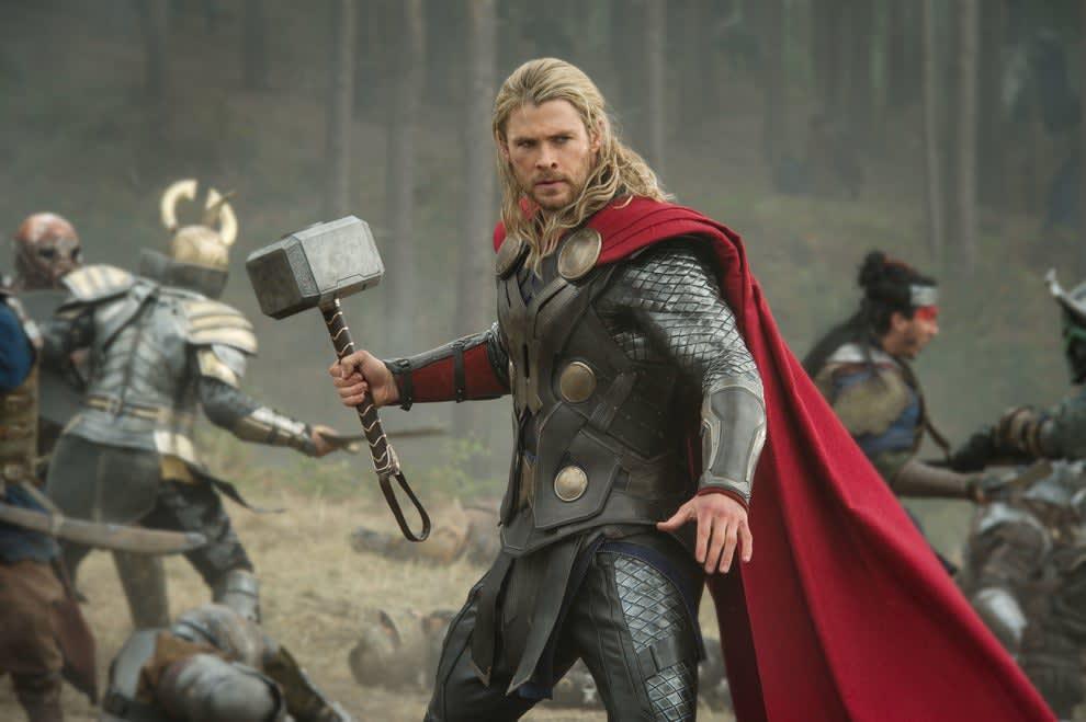 """Thor weilding a hammer in """"Thor: The Dark World"""""""