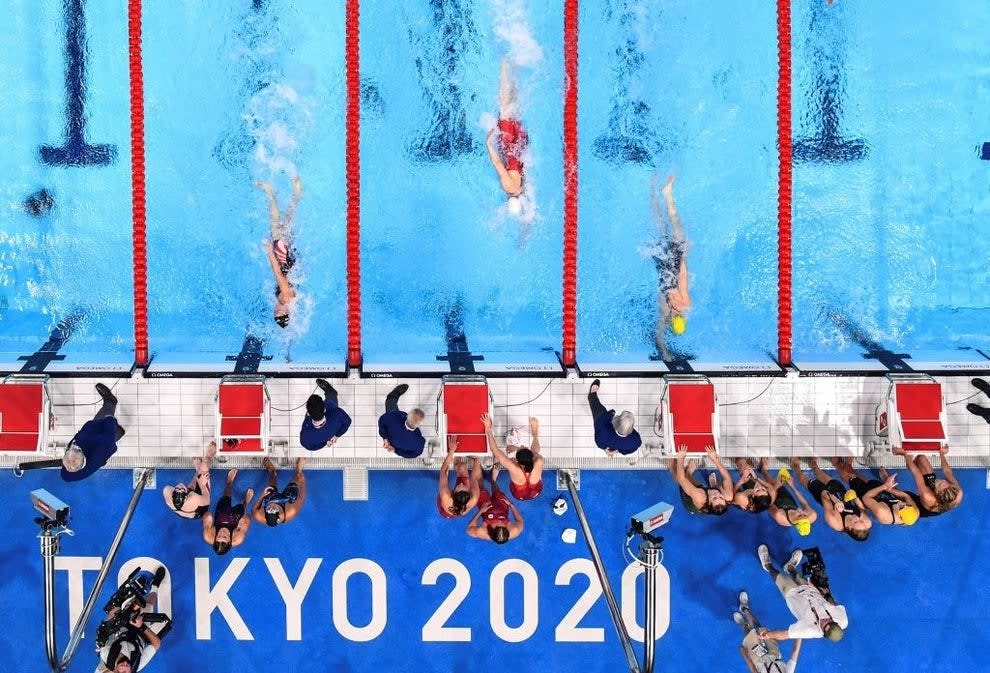 An overhead view of the swimmers in the pool
