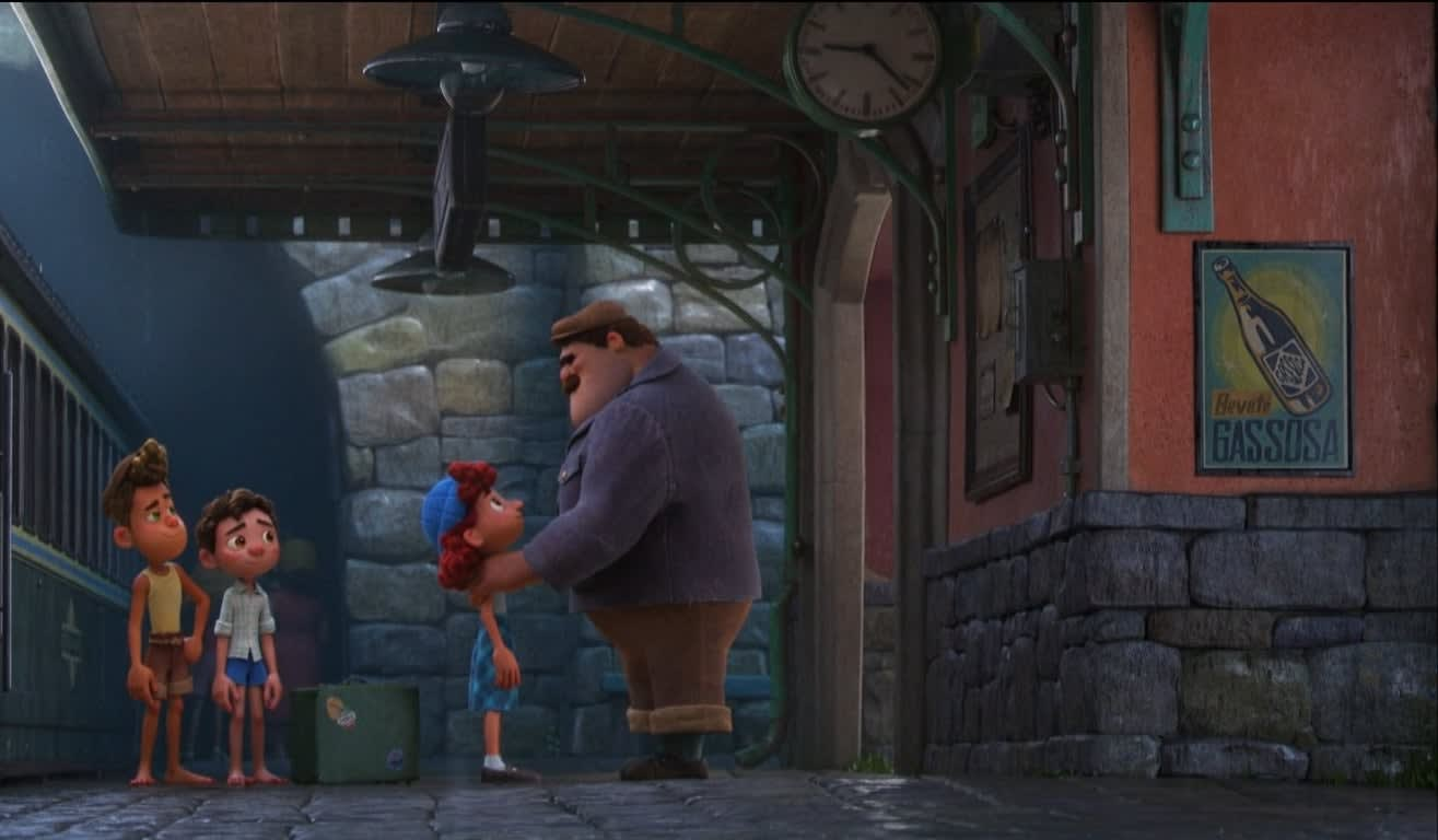 An adult man bidding goodbye to his daughter as two boys watch on