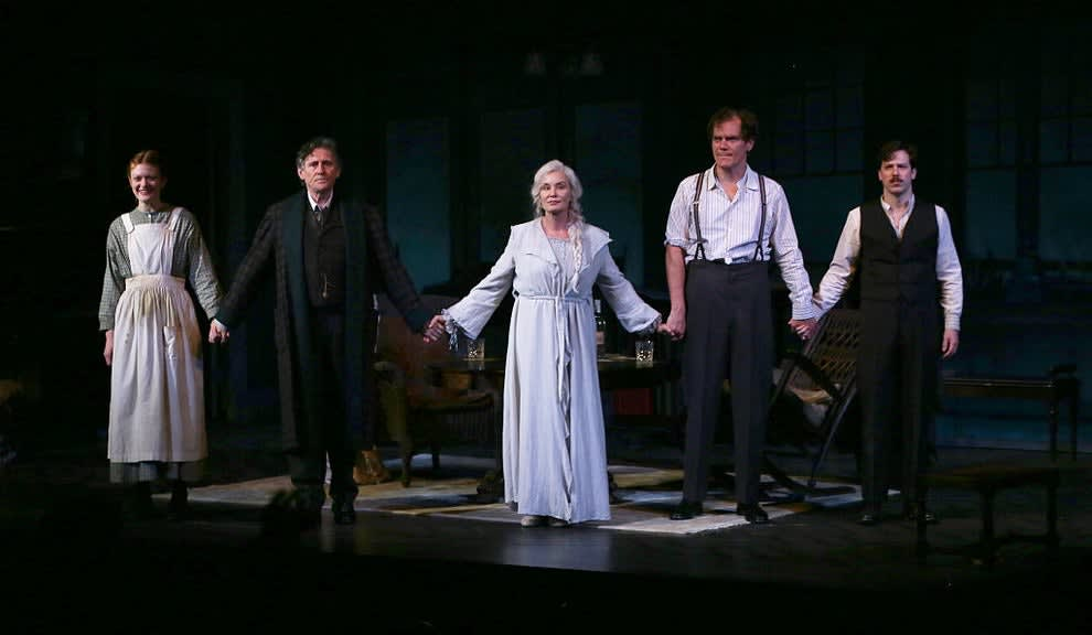 Jessica Lange in the center of the curtain call for Long Day's Journey into Night