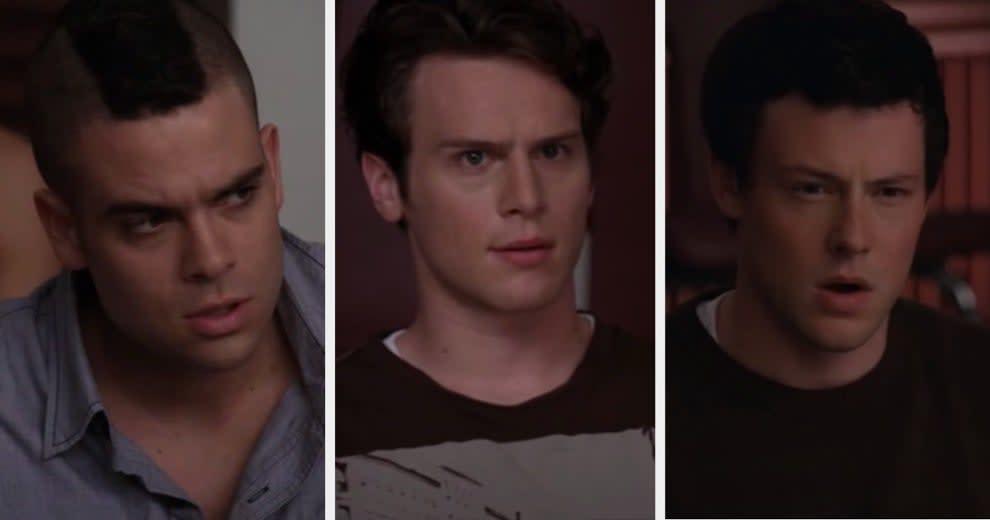 "Puck, Jesse, and Finn react angrily to seeing Rachel's ""Run Joey Run"" video."