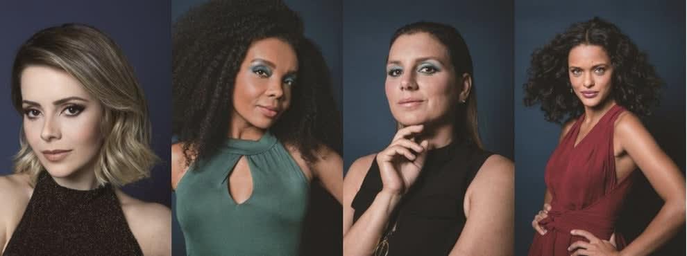 """Imagem da campanha """"Olhos nos Olhos: Cada Mulher Uma História"""" mostra Sandy, Maya Gabeira, Thelma Assis e Thainá Duarte."""