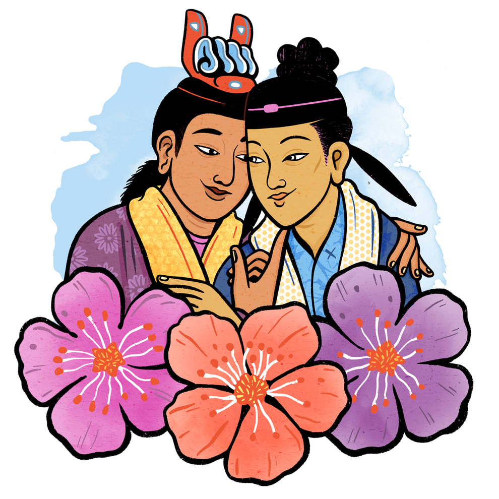 Two queer Chinese men in historic clothing embracing, surrounded by flowers