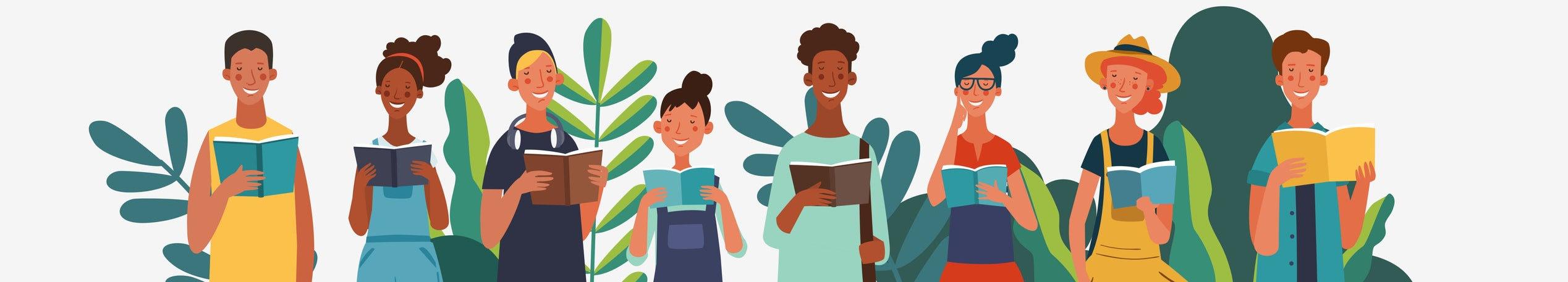 Ilustração com 8 pessoas diferentes segurando livros e sorrindo, lado a lado. Atrás delas desenhos de plantas verdes.