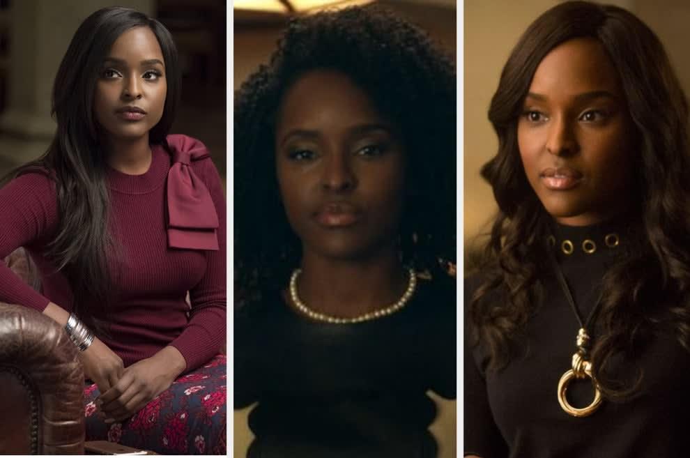 Um montagem com três imagens de uma mulher negra. Na primeira ela tem o cabelo liso. Ela usa uma blusa bordô. Na segunda seu cabelo é afro e ela usa uma blusa preta e colar de pérolas. Na terceira fora ela está com o cabelo longo e liso e blusa preta.