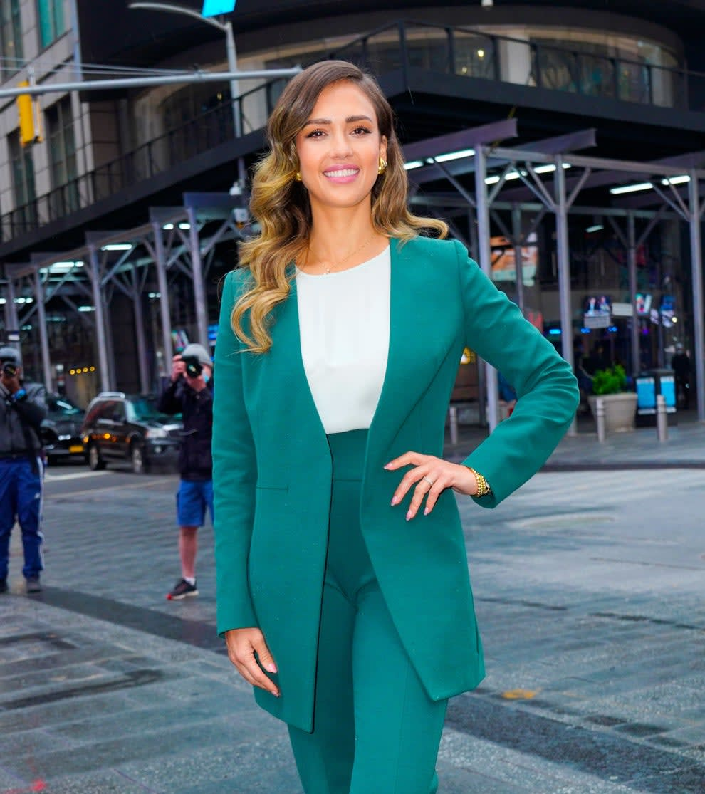 Alba posing in New York City in 2021