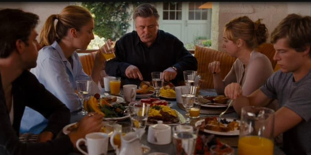 """Uma família tomando café da manhã com a mesa cheia em """"Simplesmente Complicado"""""""