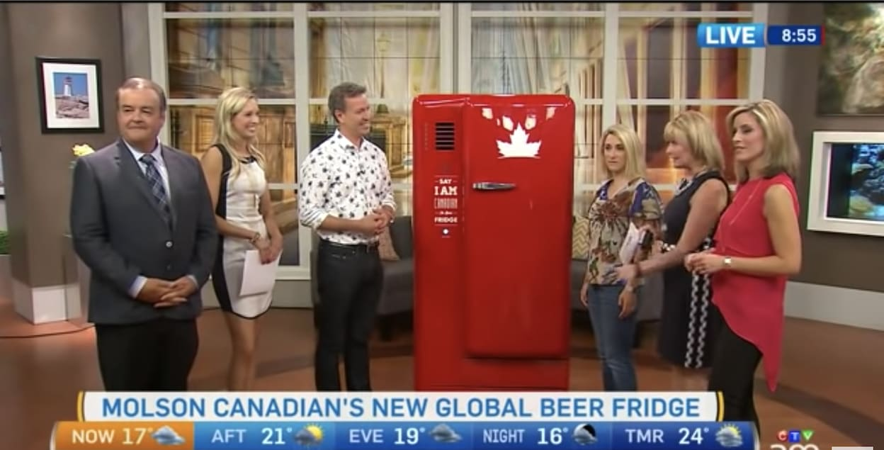 A morning show attempts to open the beer fridge
